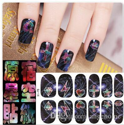 Wholesale DIY Water Transfer Harajuku Star Postage stamp gum All posted Nail Stickers Nails Art Decoration Nail Tools Sticker 16 Designs