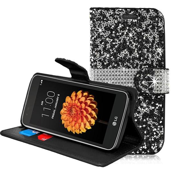 Bling Rhinestone Diamond Funda Cartera De Cuero Funda para Tarjeta de Crédito para iPhone 6 6S Plus LG Tribute Dynasty K7 K10 Samsung Galaxy S6 S7 Edge