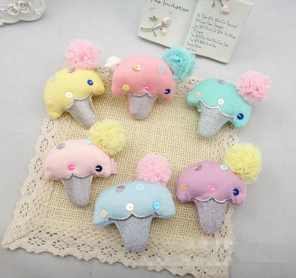 Wholesale 20pcs/lot 6 Colors Doublecone BB Girls Hair Clips Icecream Girls Hairpins Cartoon Mushroom Baby Girls Hair Accessories