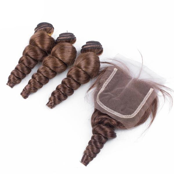 Peruanisches Menschenhaar-Spitze-Schließung mit Haar-Stück-Farbe # 4 lösen Wellen-lockiges Haar-Schlag 3Pcs mit freien mittleren 3 Teil-Spitzenverschlüssen
