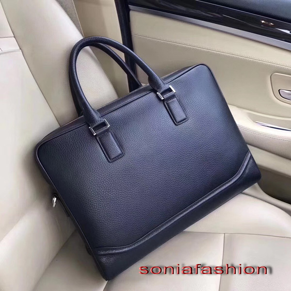 2017 new Hot sell men bag import genuine leather briefcase fashion man computer bag with long strap free shipping