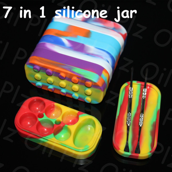 wholesale dhl free big Silicone jars container 6+1 silicone contianer for wax silicone jars container hand pipe nectar collector