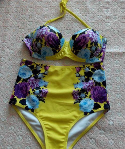 Biquinis Women 2015 Newest The National Flower Of China Printed Push Up Bikinis Set Swimsuit Swimwear For Women Bathing Suit