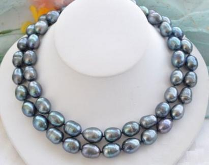 NOBLEST NATURAL 11-13MM SOUTH SEA BLACK BLUE PEARL NECKLACE 35 INCH 14K GOLD CLASP