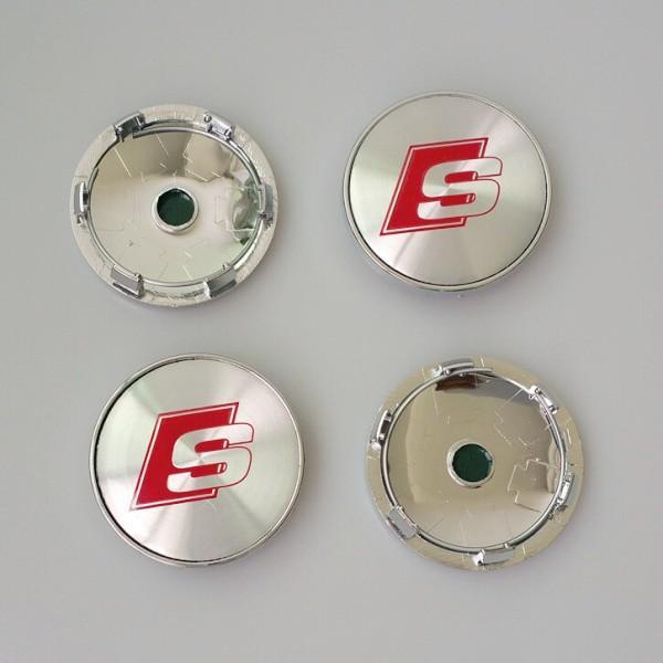 4PCS / lot 60mm 금속 크롬 S 라인 SLINE 자동차 휠 허브 캡 센터 캡 엠블럼 배지 A3 A4 A5 A6 A7 A8 S3 S4 S5 S6 S7