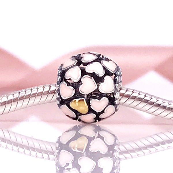 European DIY Style Authentic 925 Sterling Silver Abundance of Love, Pink Enamel Charm Fit DIY Pandora Bracelet 791283EN40