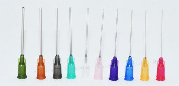 top popular wholesale 14G-27G W  ISO standard Dispensing needles PP luer lock hub 1.5 -inch tubing length precision S.S. dispense blunt tips 2021