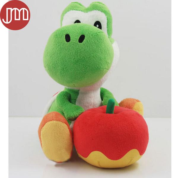 New Super Mario Bros Yoshi y manzana verde Raras suave felpa muñeca de juguete animado regalo del bebé niños de juguete 18cm con el seguimiento