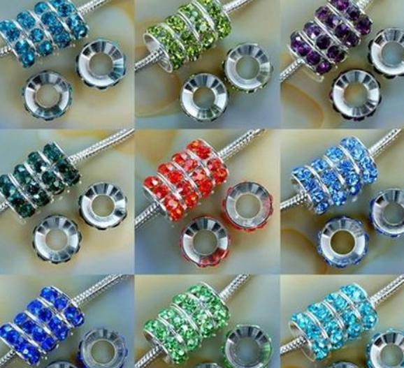 Cheap!Mixed Color Rhinestone Crystal Rondelle Spacer Beads,Rhodium Plated Big Hole European Bead for bracelet hotsale DIY Findings Jewelry