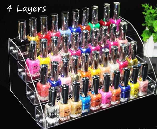 New Promotion Multifunction Makeup Cosmetic display stand 4 Tiers Clear Acrylic Organizer Mac Lipstick Jewelry Holder Nail Polish Rack