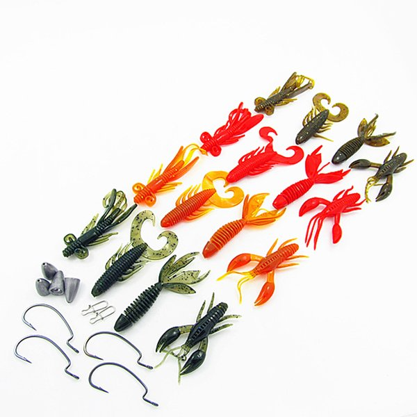 Fishing Soft Lure Kit Crank Worm Hook Grub Shrimp Artificial Lures Bait Lead Sinker BKK Hook with Box 28 Pieces Set
