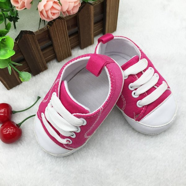 Wholesale- Newborn Baby Canvas Crib Shoes Sports Sneakers T-tied Infant Toddler Soft Soled Anti-slip Firstwalker