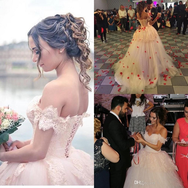 C2016 Arabic Vestido de Novia Pink Ball Gown Wedding Dresses Off-Shoulder Backless Puffy Skirt Bridal Gowns Big Discount Bridal Gowns