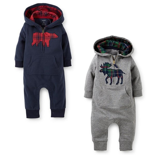 INS Autumn Christmas Winter Baby Long Sleeve Hooded Rompers one-pieces Animal jumpsuit Printed Toddler infant Cotton Clothes Outfits