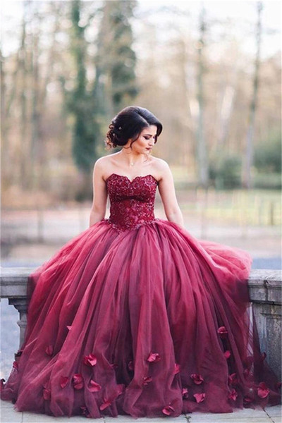 Burgundy Puffy Tulle Hand Made 3D-Floral Sew Skirt Evening Gowns Sweetheart Appliques Ball Gown Prom Dress Pageant Dress