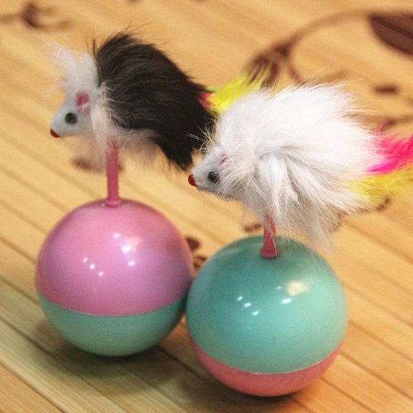 Durable Pet Cat Toys Mimi Favorite fur Mouse Tumbler Plastic Toys Balls for Cats dogs play 5.5cm