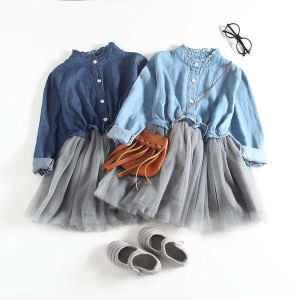 Abiti bambina bambino autunno manica lunga denim abiti con bottoni bambini abiti principessa autunno per le ragazze
