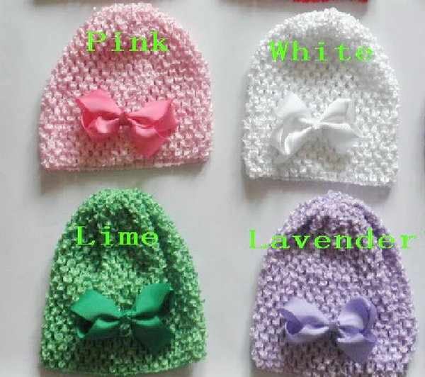 "10pcs baby Newborn waffle crochet hats hair bows clips sunny soft toddler beanie with 3"" bows stretch caps feshion hot sell MZ9114"