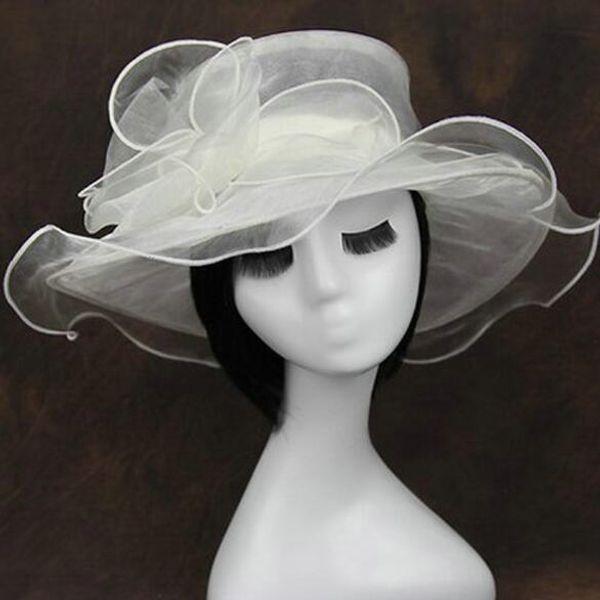 Beige femmes église Printemps Large Bord Kentucky Derby Chapeau Mariage Fête Cap