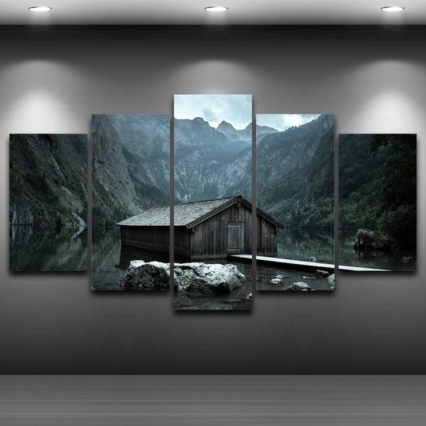 Compre 5 Unids / Set Chalet Montañas Spray Pintura Al Óleo ...