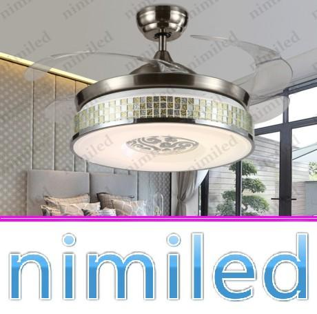 "top popular nimi937v42"" Invisible LED Ceiling Fan Lights Chandelier Modern Minimalist Restaurant Light Living Room Bedroom Dinning Room Pendant Lamp 2021"