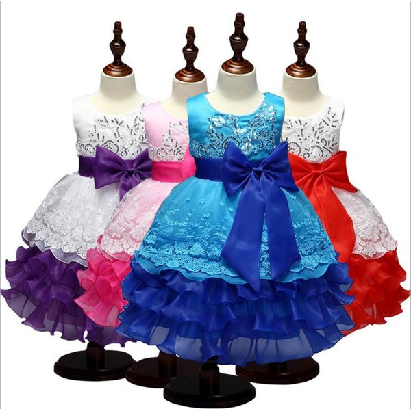 Summer girls party dress sleeveless tutu dresses kids gown baby prom dress with big bow and sequins baby girl's lace dress A08