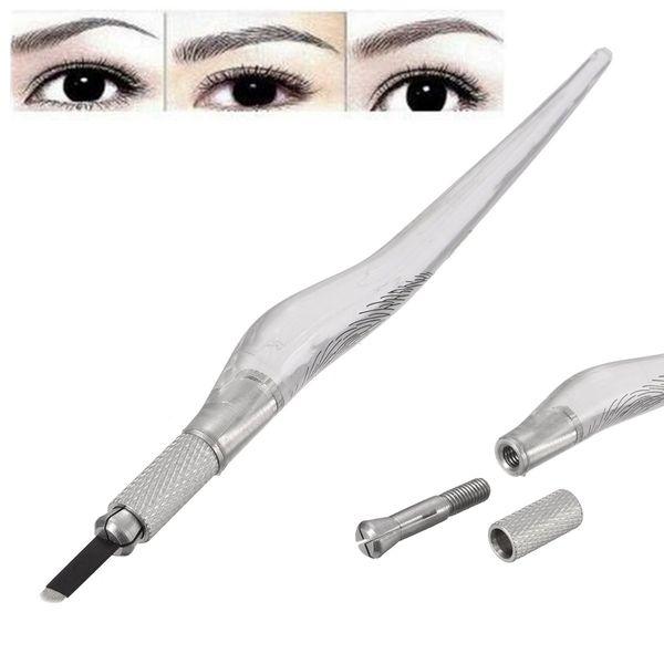 Wholesale- Manual Eyebrow Microblading Pen Permanent Tattoo Makeup Machine Pencil Unique Design Transparent Handle Body Art Tools