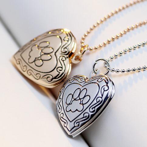 Animaux Chat Chat Paw Imprimer Cadres Photos Peut Ouvrir Pendentifs Coeur Colliers Médaillon Vintage Bijoux 10pcs / Lot Cadeau De Noël