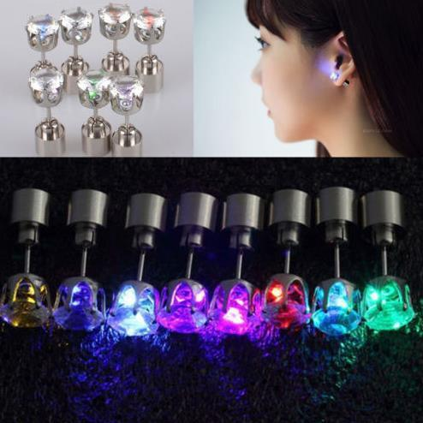 top popular Christmas party light up CZ crystal earrings men women kids dance club LED Luminous Stud Flash Earrings festive event props gift 2019