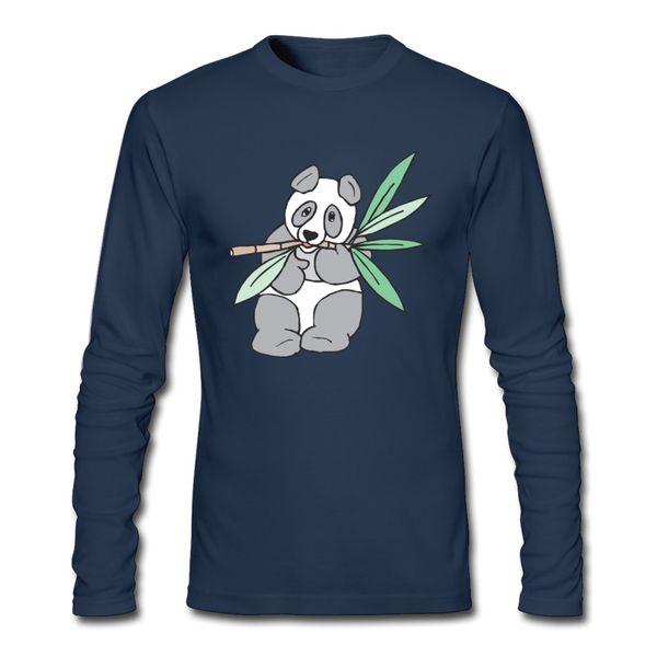 T-shirt uomo primavera e autunno 2017 con T-shirt Panda Eating Bamboo Print T-shirt maniche lunghe e O-collo