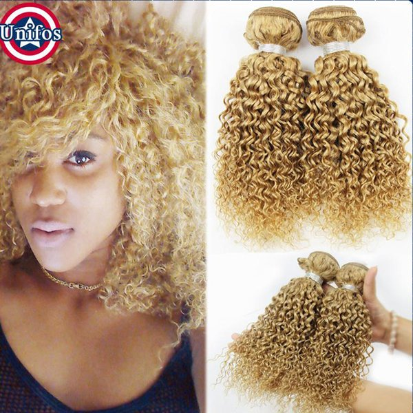 27 Honey Blonde Brazilian Hair Weaves Jerry Curly Strawberry Blonde