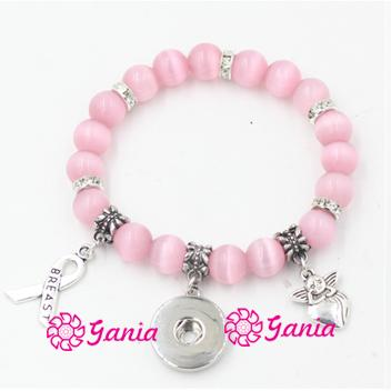Newest Breast Cancer Awareness Jewelry Pink Bead Bracelet with Cancer Ribbon Angel 18mm Snap Bracelet for Breast Cancer