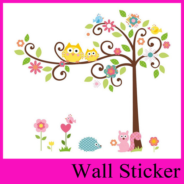 Fast shipping Owl squirrel tree Hoot Wall decals Removable stickers decor art kids nursery room wholesale