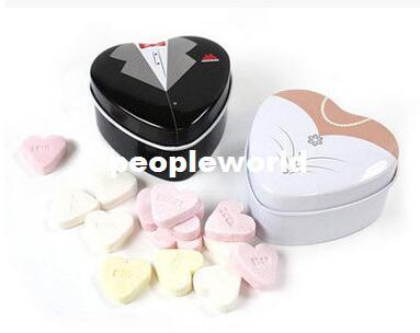 100pairs=200pcs Tin Heart Box Groom and Bride Wedding Favors Metal Candy Boxes Storage