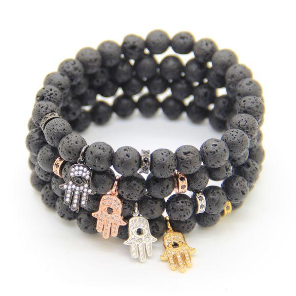 2016 8mm Black Lava Stone with High Grade Micro Pave Black CZ Stoppers Beads, Hamsa Hand pendants Bracelets Wholesale