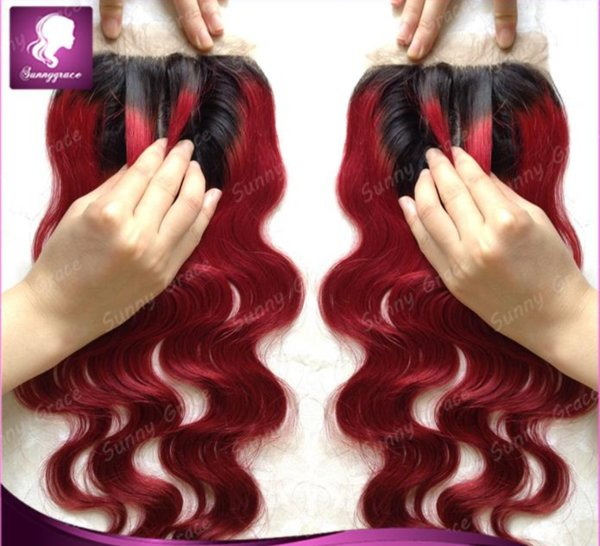 unprocessed virgin human hair silk base body wave ombre closure sunny grace hair products 1b/red with baby hair