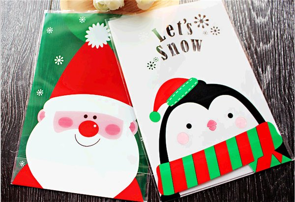 100pcs/set 14*20cm OPP Stand Up Pouch Christmas Santa And Penguin Partten Gift Packaging Bag diy Cookie and Candy Packing DHL Free Shipping