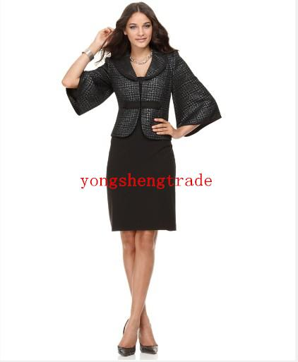 Design Women Clothing Custom Made Black Women Suits Perfect For Any Occasion Wool Coat+Dress