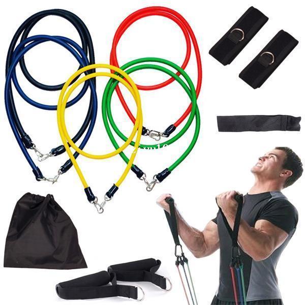 11 Pcs Resistência Bandas Set Tubo Ginásio Exercício Conjunto de Fitness Yoga