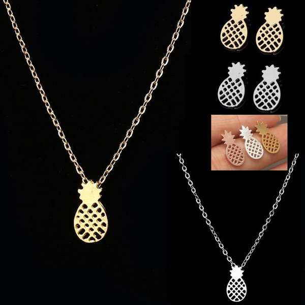 top popular Fashion Pendant Necklaces Earrings with Pineapple Pendant Super Popular Pendant Necklace Studs Earring for Women New Arrival for Sale 2019