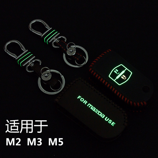 High Quality Hand-Sewing Luminous leather Car key cover Car Remote Key Chain Case Holder For Mazda M2 M3 M5 2 Buttons Folding.