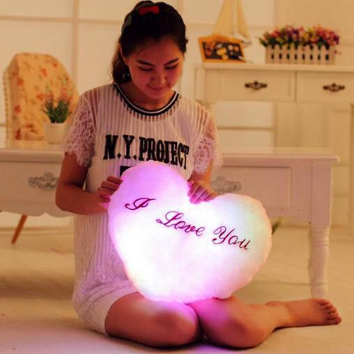 1 piece 2016 new style I LOVE YOU Music LED PILLOW cushion stuffed cloth doll birthday gift for clidren Girlfriend
