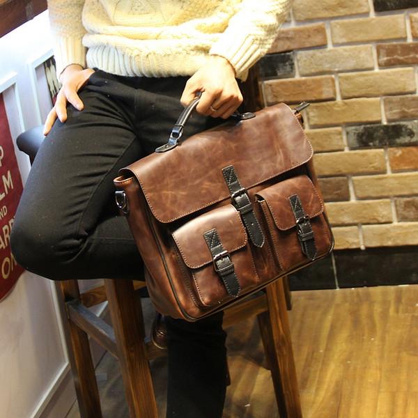 Wholesale- New Fashion Handbags Famous Brand Men Messenger Bags Crazy horse Leather Briefcase Vintage Mens Handbag Bolsas Man Travel Bag