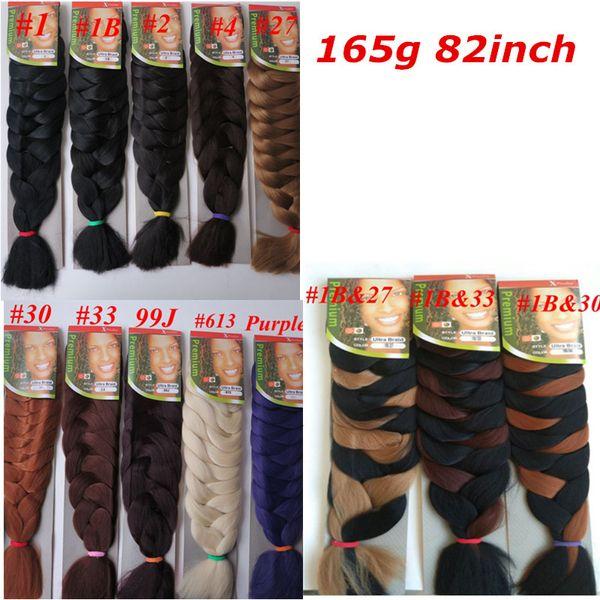 top popular Xpression Synthetic Braiding Hair 82inch 165grams single color Premium Ultra Braid Kanekalon jumbo braid Hair Extensions 2020