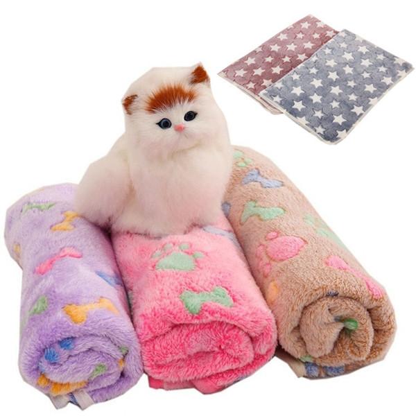 Hot 76 * 52 cm Pet Cobertores Pata Imprime Cobertores para pet cat and dog Cobertores de Lã Macio e Quente Tampa de Cama Mat IB306
