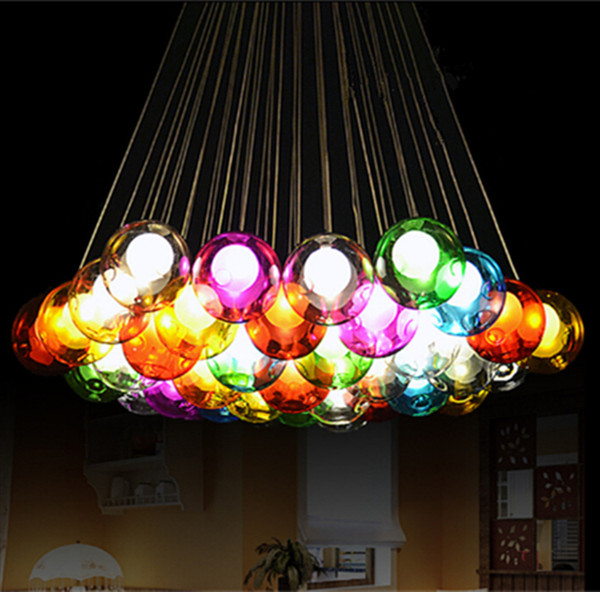 Moderne Kristall Kronleuchter Bunte Glaskugel LED Pendelleuchte Fr Esszimmer Wohnzimmer Bar G4