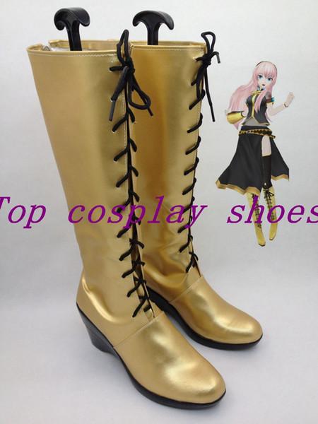 Al por mayor-Vocaloid Cosplay Megurine Luka Gold Cospaly Boots zapatos zapato de arranque # VCL01 Nuevo venir negro con cordones