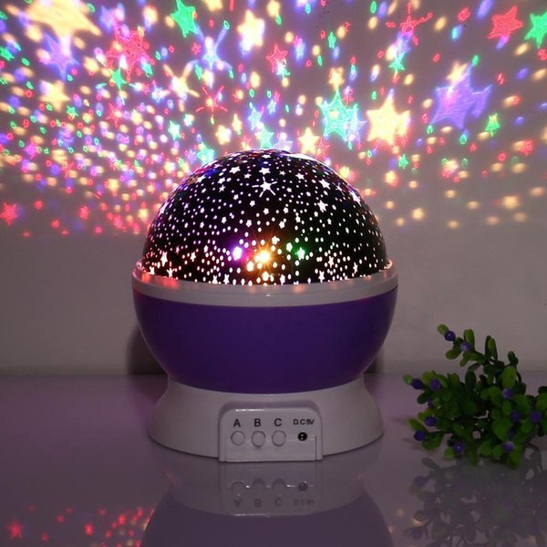 Baby Night Light Star Projector 360 Degree Rotation 3 Model 4 LED Bulbs Romantic Home Decoration DC5V AAA Battery Powered for Children Kids