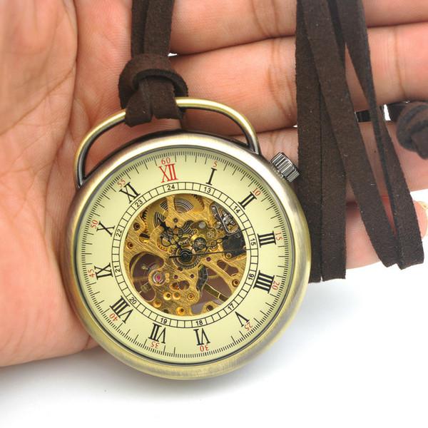Toptan Satış - SHUHANG Marka Erkek İskelet Pocket Watch Kalite Mekanik Hareketi El Rüzgar Romen Rakamları Vintage Stil Reloj De Bolsillo