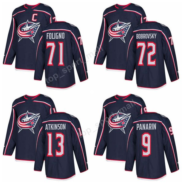 Columbus Blue Jackets 72 Sergei Bobrovsky Jerseys 2018 Ice Hockey 9 Artemi Panarin 13 Cam Atkinson 71 Nick Foligno Jersey Navy Man Kid Woman